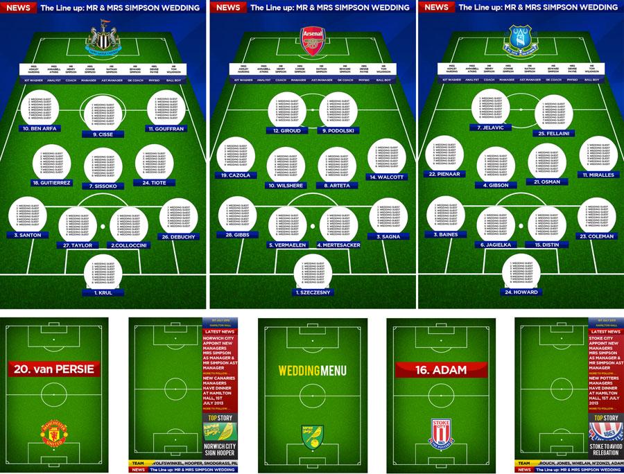 Football Wedding Themes Wedding Table Plan Styling