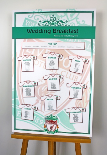 Liverpool FC wedding table plan