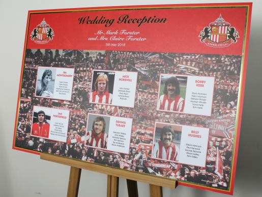 Sunderland FC wedding table plan