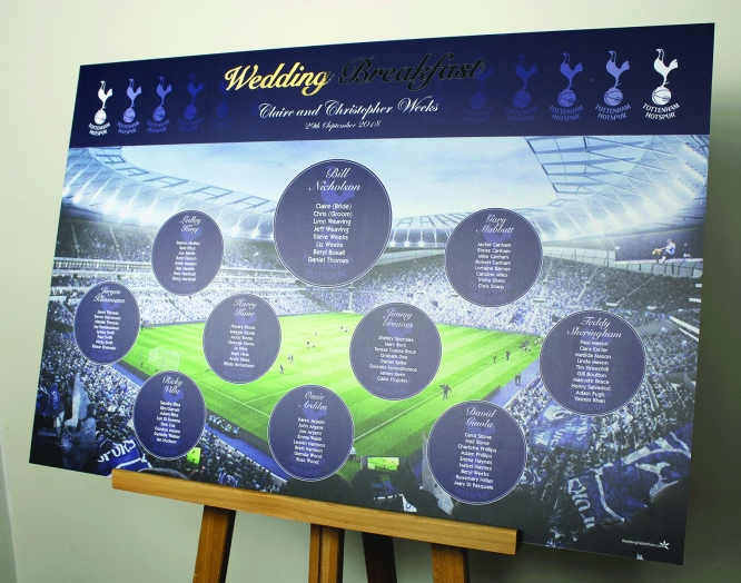 Tottenham Hotspurs Wedding Table Plan